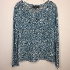 RAG & BONE Blue and White Marled Sweater